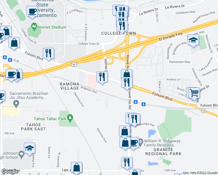 map of restaurants, bars, coffee shops, grocery stores, and more near 1 in Sacramento