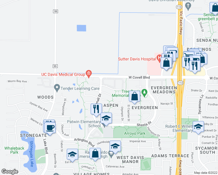 map of restaurants, bars, coffee shops, grocery stores, and more near 2236-2298 Glacier Drive in Davis