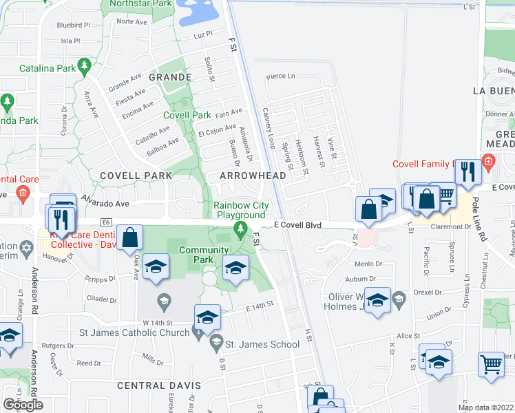 map of restaurants, bars, coffee shops, grocery stores, and more near 2020 F Street in Davis