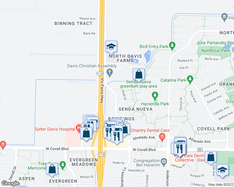map of restaurants, bars, coffee shops, grocery stores, and more near 2706 Sycamore Ln in Davis