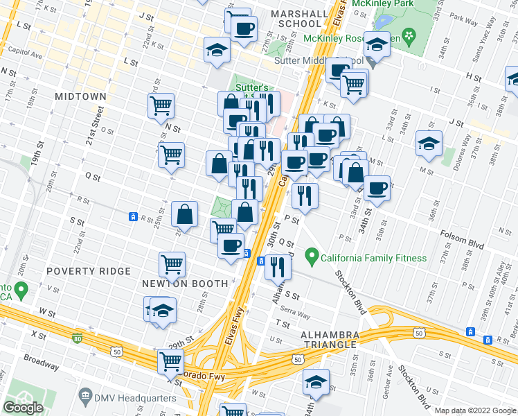 map of restaurants, bars, coffee shops, grocery stores, and more near P Street & 29th Street in Sacramento