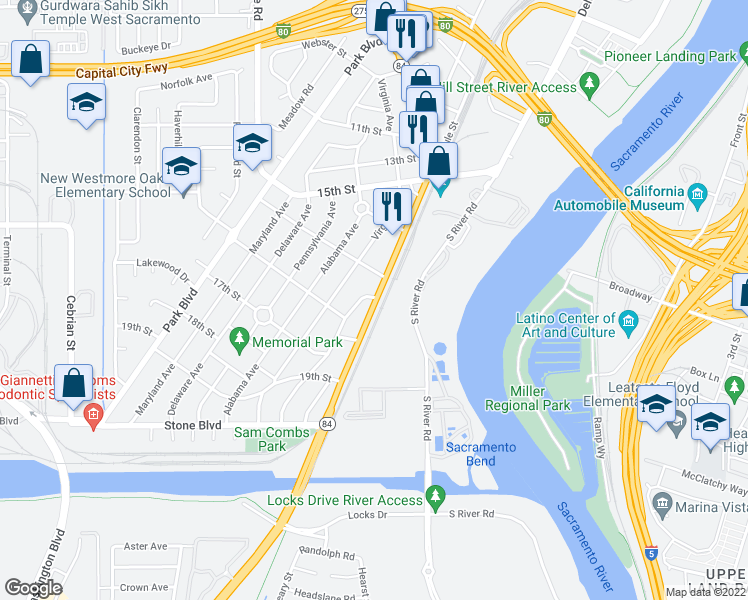 map of restaurants, bars, coffee shops, grocery stores, and more near 15 Alameda Boulevard in West Sacramento