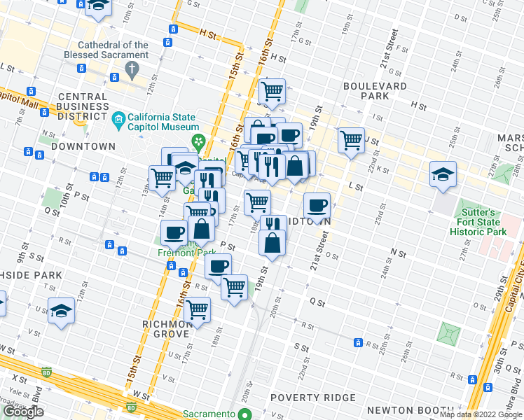 map of restaurants, bars, coffee shops, grocery stores, and more near N St O St Alley in Sacramento