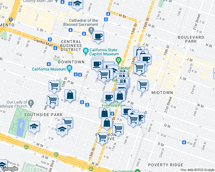 map of restaurants, bars, coffee shops, grocery stores, and more near 1522 14th Street in Sacramento
