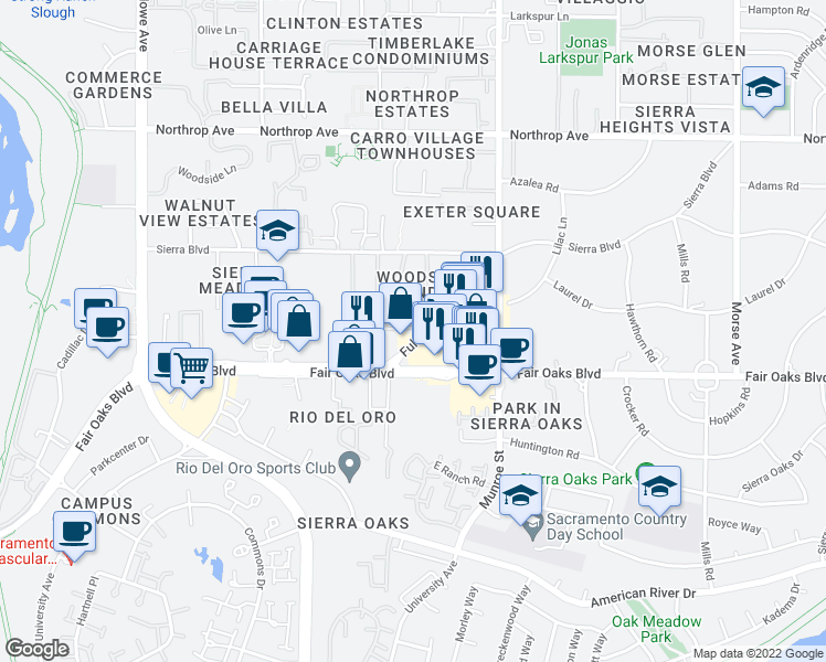 map of restaurants, bars, coffee shops, grocery stores, and more near in Sacramento