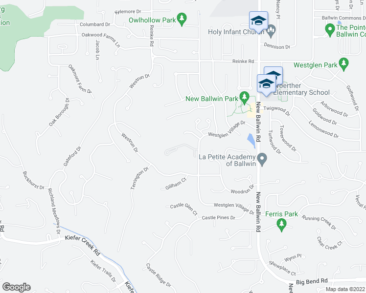 map of restaurants, bars, coffee shops, grocery stores, and more near 915-999 Quail Terrace Court in Ballwin