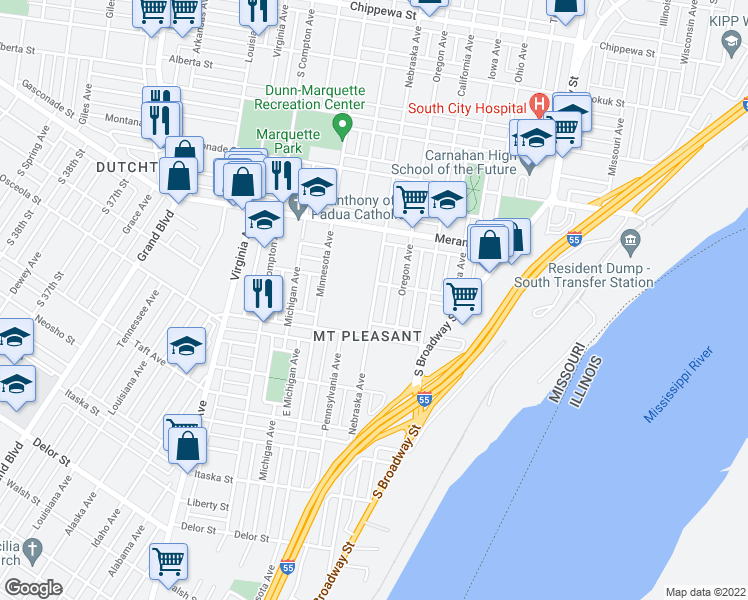 map of restaurants, bars, coffee shops, grocery stores, and more near in St. Louis