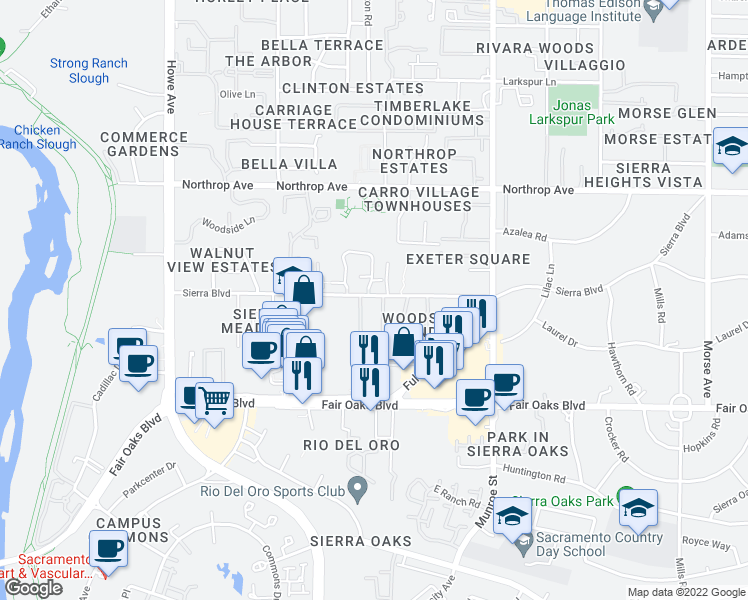 map of restaurants, bars, coffee shops, grocery stores, and more near 2400 Sierra Boulevard in Sacramento