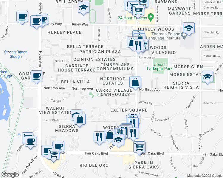 map of restaurants, bars, coffee shops, grocery stores, and more near Northrop Ave & Carro Dr in Arden-Arcade