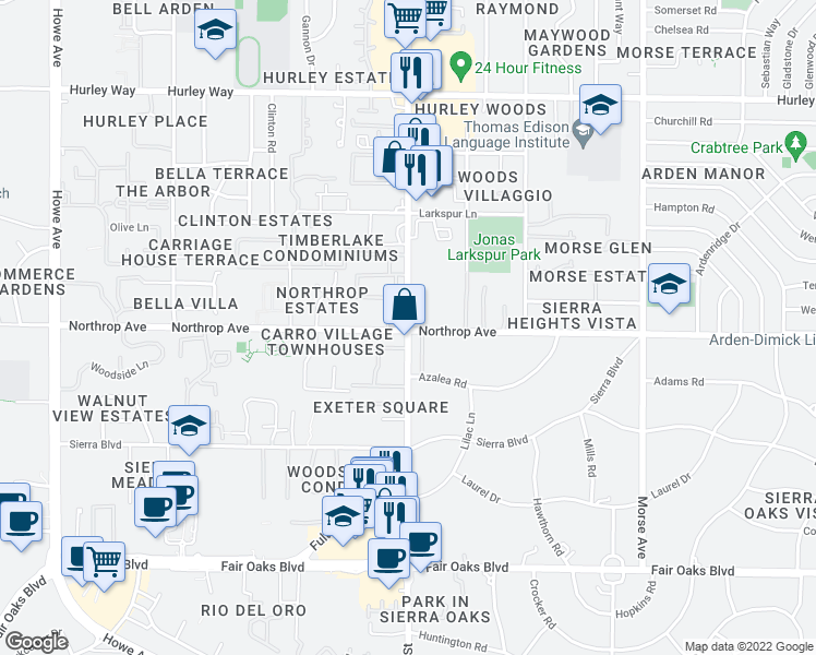 map of restaurants, bars, coffee shops, grocery stores, and more near 2601-2625 Northrop Avenue in Sacramento