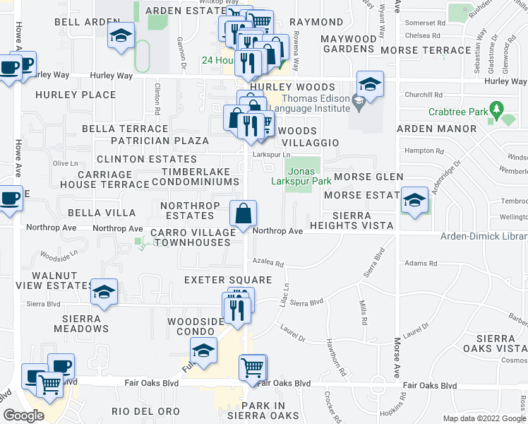 map of restaurants, bars, coffee shops, grocery stores, and more near 960 Fulton Avenue in Sacramento