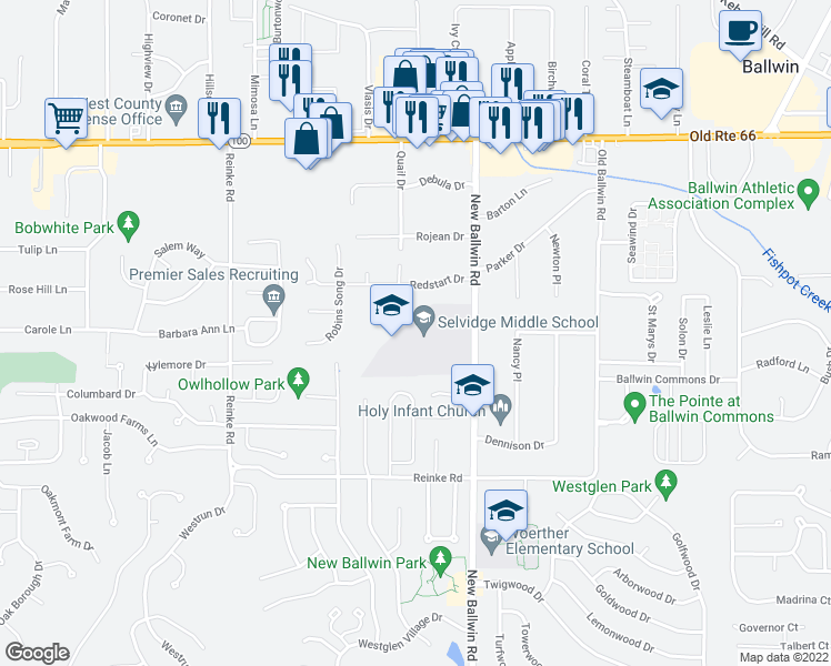 map of restaurants, bars, coffee shops, grocery stores, and more near 722 Redstart Drive in Ellisville