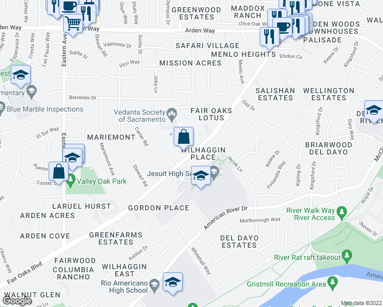map of restaurants, bars, coffee shops, grocery stores, and more near Fair Oaks Boulevard in Sacramento
