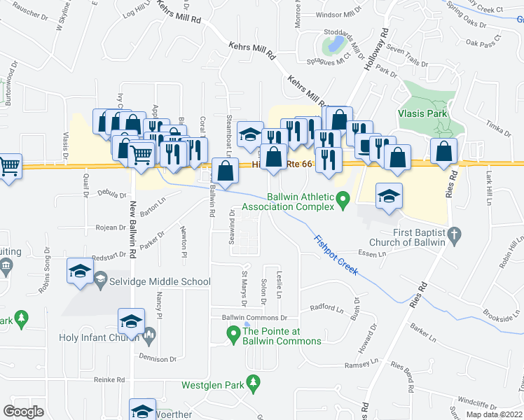 map of restaurants, bars, coffee shops, grocery stores, and more near 220 Sweetcreek Dr in Ballwin