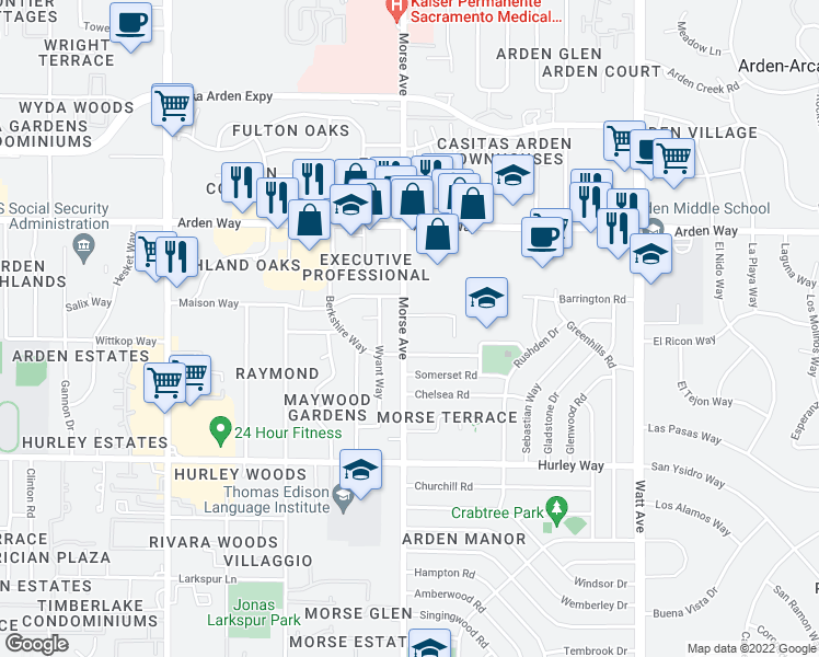 map of restaurants, bars, coffee shops, grocery stores, and more near 1600-1624 Morse Ave in Sacramento