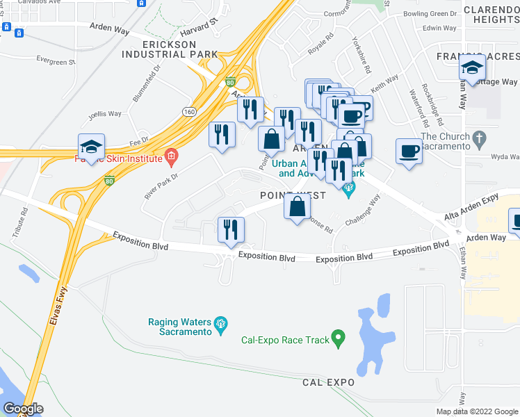 map of restaurants, bars, coffee shops, grocery stores, and more near 1781 Heritage Lane in Sacramento