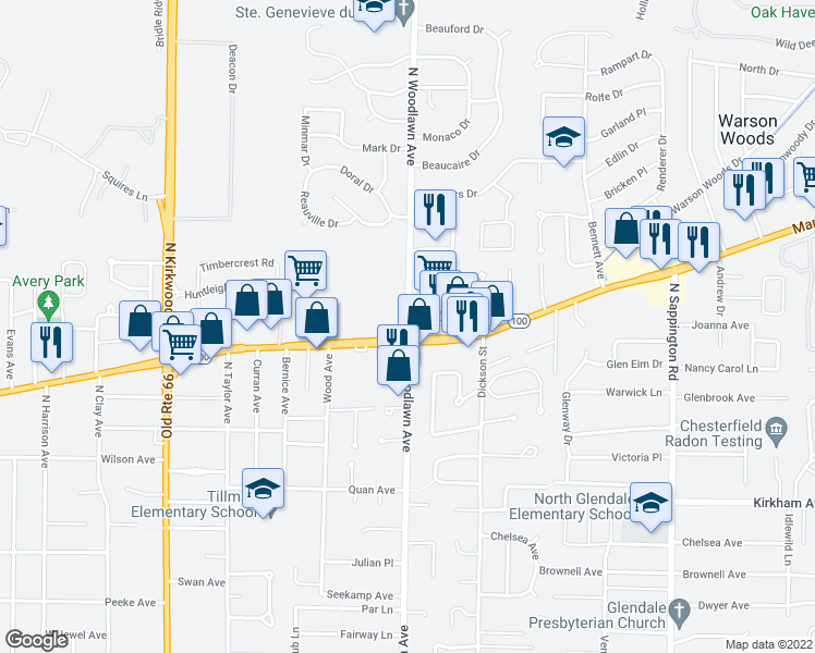 map of restaurants, bars, coffee shops, grocery stores, and more near 10301-10341 Manchester Rd in Kirkwood