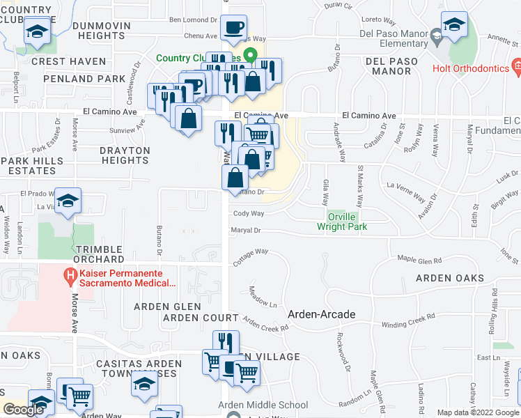 map of restaurants, bars, coffee shops, grocery stores, and more near 3508 Cody Way in Sacramento