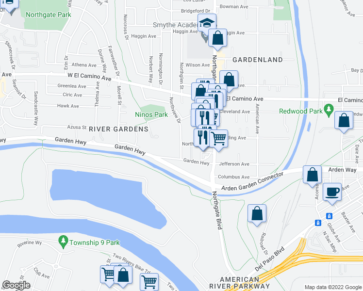 map of restaurants, bars, coffee shops, grocery stores, and more near 2201 Northview Drive in Sacramento