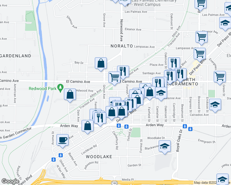 map of restaurants, bars, coffee shops, grocery stores, and more near 2395 Gibson Street in Sacramento
