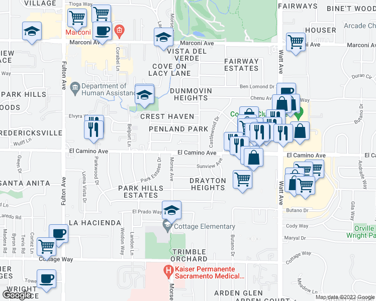 map of restaurants, bars, coffee shops, grocery stores, and more near 3151 El Camino Avenue in Sacramento