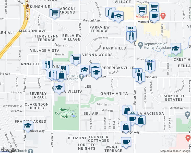 map of restaurants, bars, coffee shop
