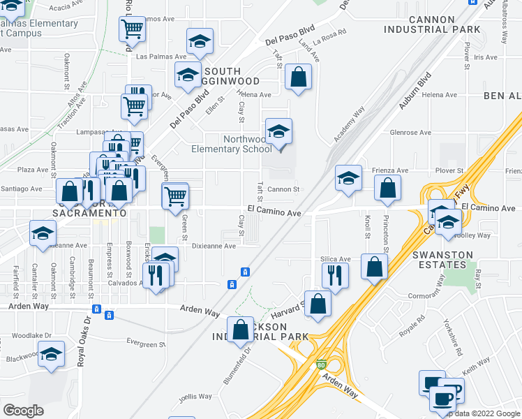 map of restaurants, bars, coffee shops, grocery stores, and more near 1251 East El Camino Avenue in Sacramento