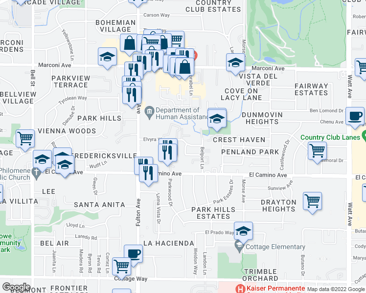 map of restaurants, bars, coffee shops, grocery stores, and more near 2701-2807 Elvyra Way in Sacramento