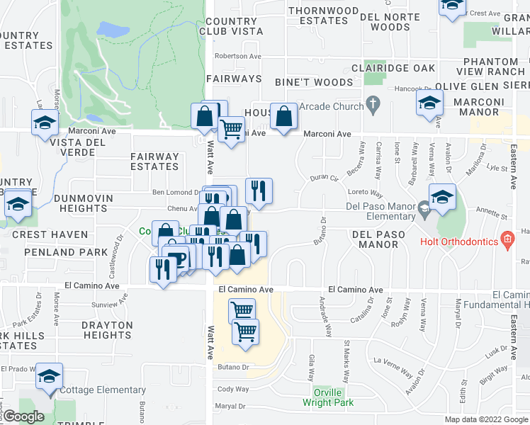 map of restaurants, bars, coffee shops, grocery stores, and more near 3601 Kings Way in Sacramento