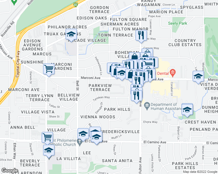 map of restaurants, bars, coffee shops, grocery stores, and more near 2400 Marconi Avenue in Sacramento