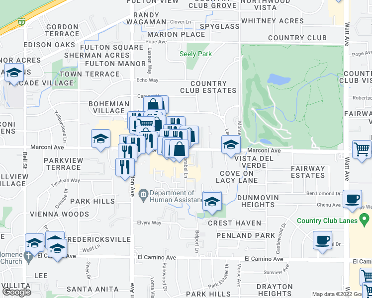 map of restaurants, bars, coffee shops, grocery stores, and more near Marconi Ave & Corabel Ln in Arden-Arcade