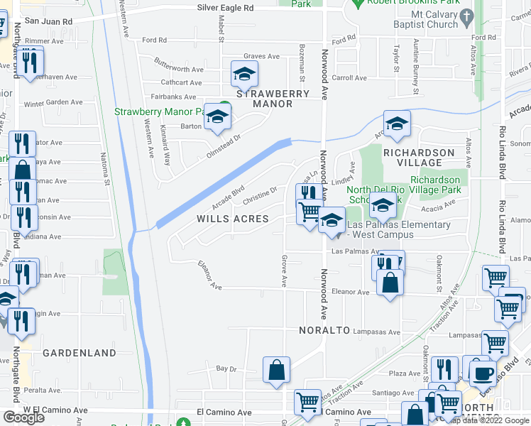 map of restaurants, bars, coffee shops, grocery stores, and more near 260 Redondo Avenue in Sacramento
