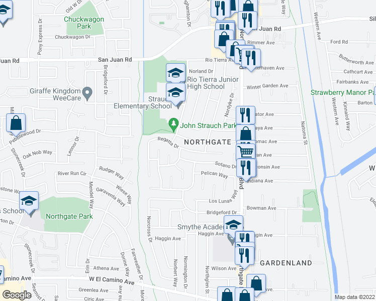 map of restaurants, bars, coffee shops, grocery stores, and more near Regatta Drive in Sacramento
