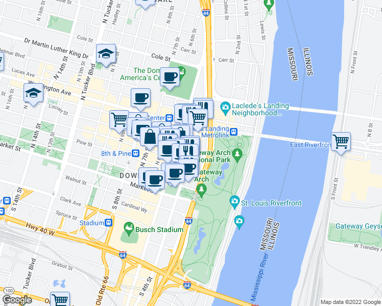 map of restaurants, bars, coffee shops, grocery stores, and more near 300 North 4th Street in St. Louis