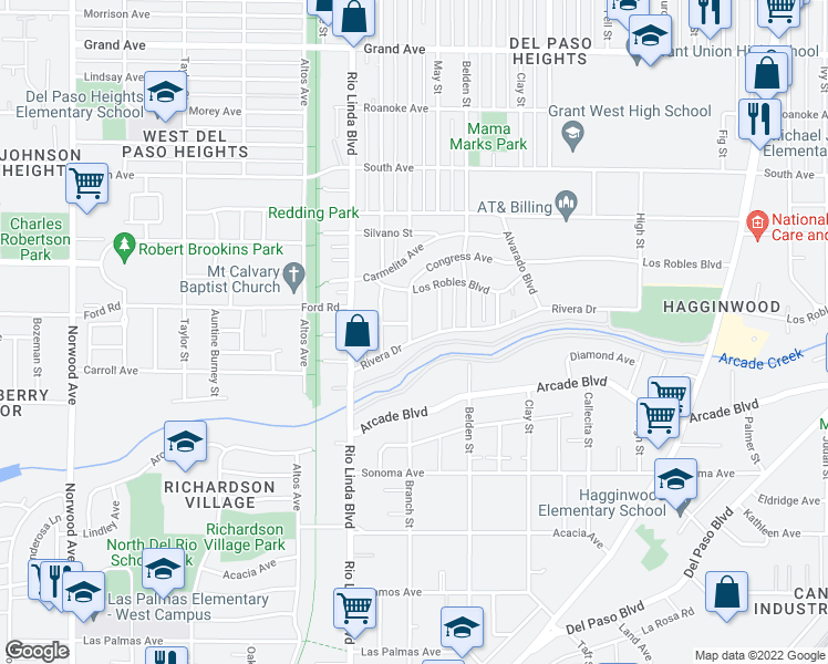 map of restaurants, bars, coffee shops, grocery stores, and more near 1001 Rivera Drive in Sacramento