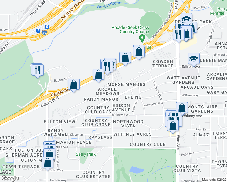 map of restaurants, bars, coffee shops, grocery stores, and more near 3600 Morse Avenue in Sacramento