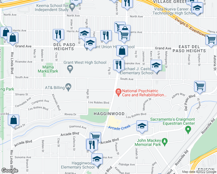 map of restaurants, bars, coffee shops, grocery stores, and more near 1517 Nogales Street in Sacramento
