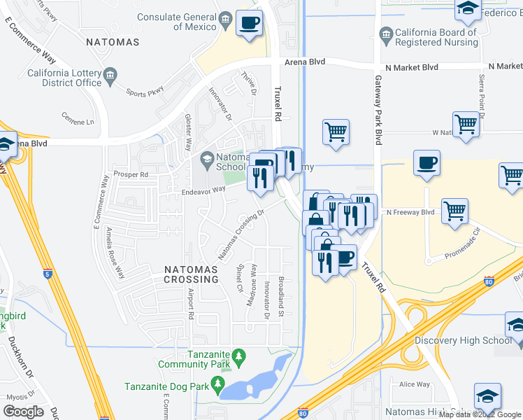 map of restaurants, bars, coffee shops, grocery stores, and more near 3915 Innovator Drive in Sacramento