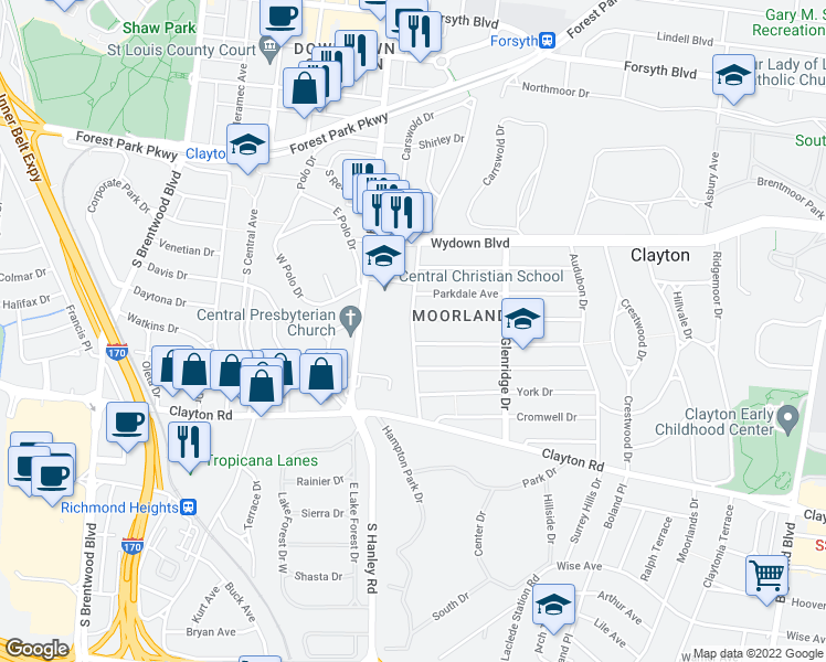 map of restaurants, bars, coffee shops, grocery stores, and more near Westwood Dr in Clayton