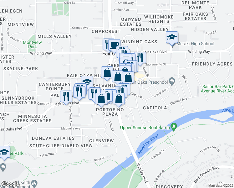 map of restaurants, bars, coffee shops, grocery stores, and more near Fair Oaks Blvd & Sunrise Blvd in Fair Oaks