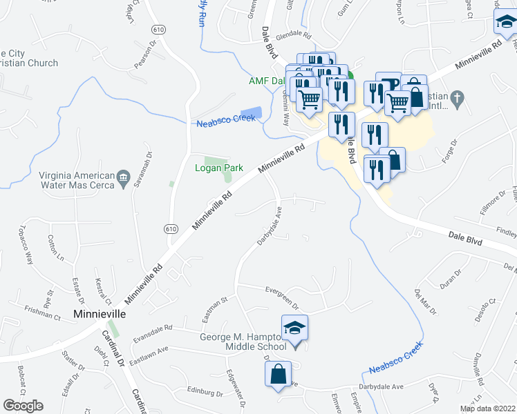 map of restaurants, bars, coffee shops, grocery stores, and more near 4432-4442 Worchester Dr in Dale City