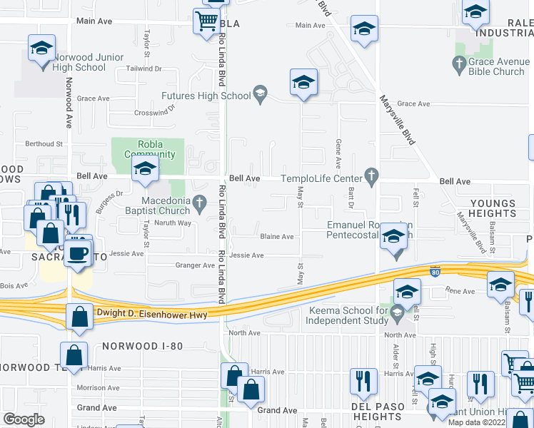 map of restaurants, bars, coffee shops, grocery stores, and more near 948 Dondra Way in Sacramento
