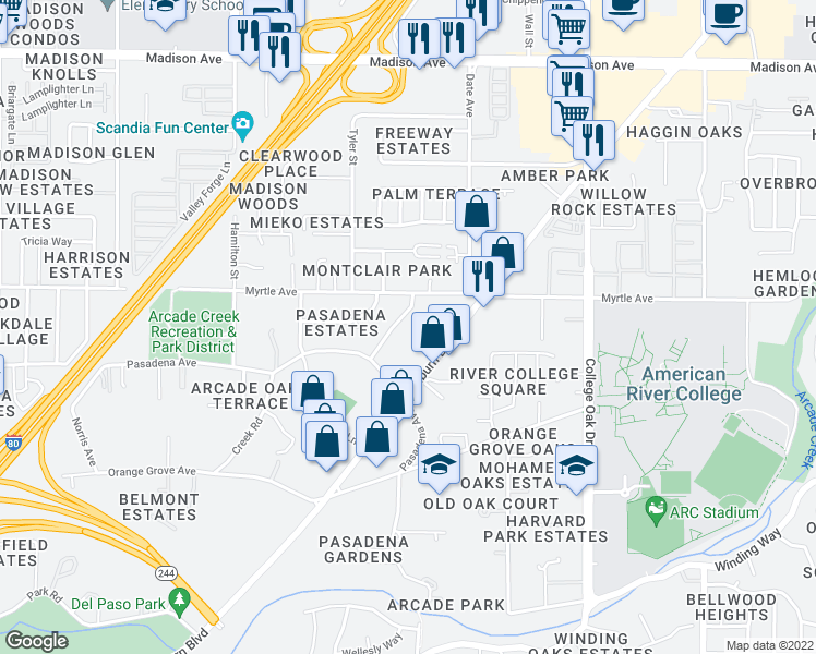 map of restaurants, bars, coffee shops, grocery stores, and more near 4832 Pasa Robles Dr in Sacramento
