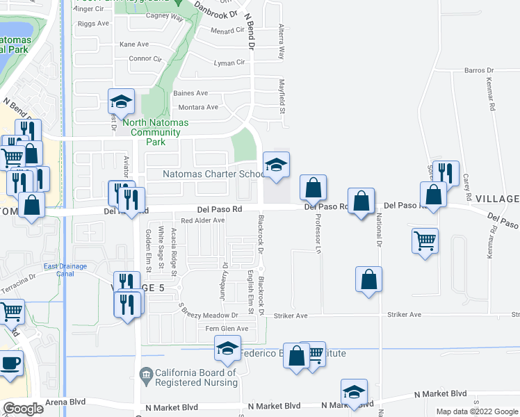 map of restaurants, bars, coffee shops, grocery stores, and more near Del Paso Rd & Blackrock Dr in Sacramento