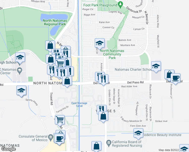 map of restaurants, bars, coffee shops, grocery stores, and more near 12 Sabre Court in Sacramento