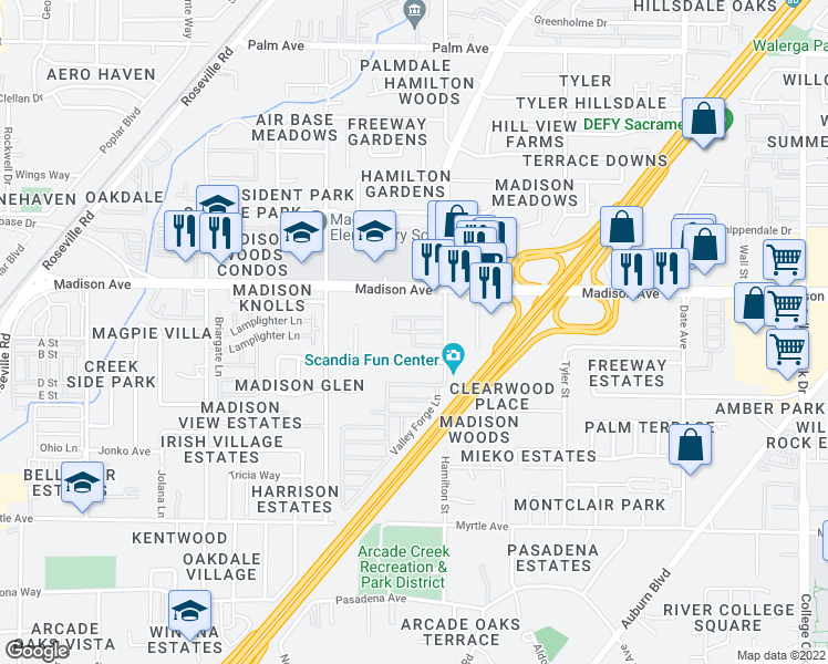 map of restaurants, bars, coffee shops, grocery stores, and more near 5119 Hillsdale Boulevard in Sacramento