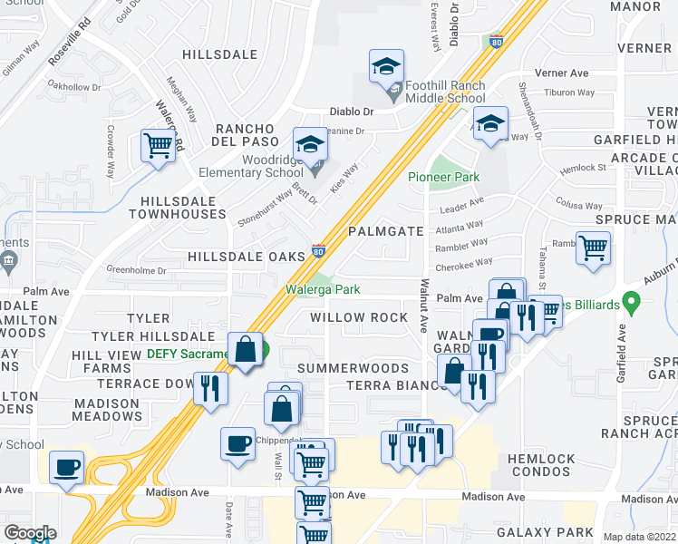 map of restaurants, bars, coffee shops, grocery stores, and more near 4909 Palm Ave in Sacramento