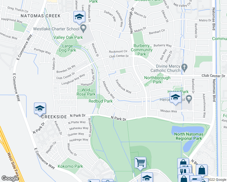 map of restaurants, bars, coffee shops, grocery stores, and more near 2644 Maybrook Dr in Sacramento