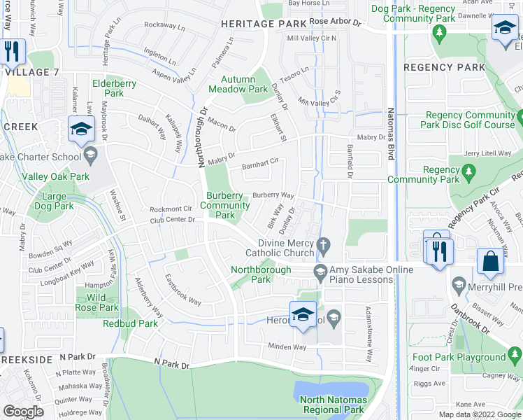 map of restaurants, bars, coffee shops, grocery stores, and more near 5372 Baccus Way in Sacramento