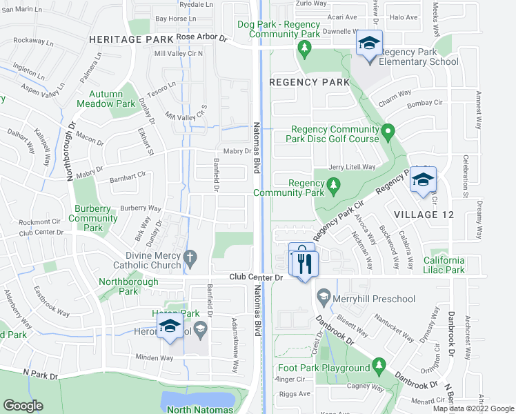 map of restaurants, bars, coffee shops, grocery stores, and more near 5904 Natomas Blvd in Sacramento